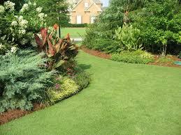 Lawn & Garden:Ravishing Backyard Garden Lawn Design With Green Grass Also  Greenery Planters Decor