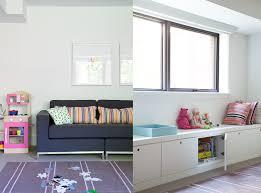 Designer Katherine Yaphe Oliver Yaphe kids playroom couch built-in storage  cabinet. **