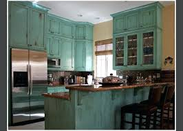 blue distressed kitchen cabinets aged light