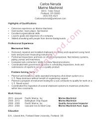 Functional Resume Sample Marine Machinist