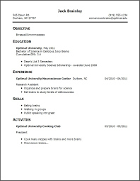 Resume For No Work Experience Example Of A Job Resume With No Experience Menu And Resume 13