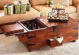 image of wine storage trunk coffee table