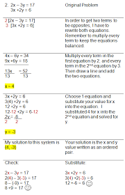 solving systems of equations using combinations method