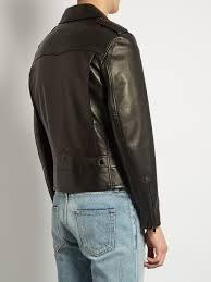 saint lau stud embellished leather biker jacket black mens yves saint lau kouros