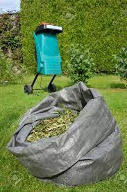 garden shredder. garden shredder and wood chippings from pruned shrub waste for composting or use as mulch.