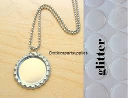 15 bottle cap diy necklace kits flattened silver chrome