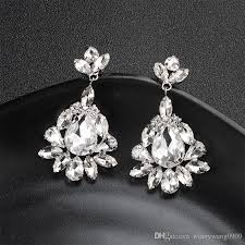 austrian crystal dangle chandelier earrings flower drop earrings wedding bride jewelry party prom shower accessories anniversary gift crystal dangle