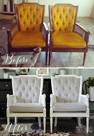 vine midcentury cane chairs painted white and reupholstered in grey cotton velvet