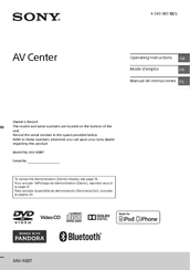 sony xav 68bt manuals manuals and user guides for sony xav 68bt we have 6 sony xav 68bt manuals available for pdf operating instructions manual service manual
