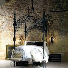 Wrought Iron Canopy Bed For Teenage Bedroom Design With Wall Brick ...