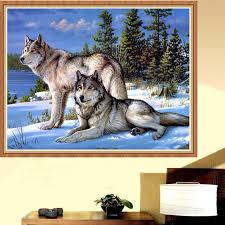 cool wolf 5d diy diamond painting embroidery cross stitch kit craft wall decor 0