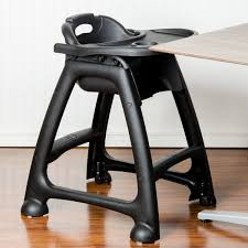 lancaster table seating black stackable restaurant high chair with tray and wheels ready to assemble