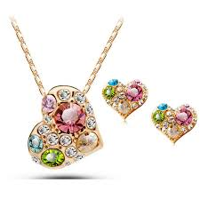 details about 18k rose gold plated multi color necklace earrings pendant fashion jewelry set