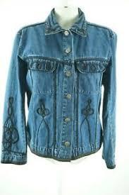 Details About 10468 Chico S Design 2 Denim Blue Jean Jacket Womens Dark Wash Black Trim L 12