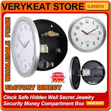clock safe wall secret jewelry security money compartment box