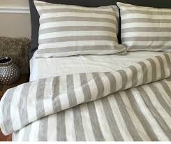 classic ticking stripe duvet cover natural linen w white