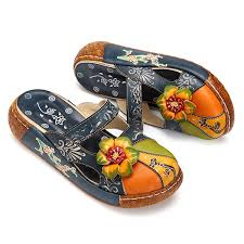 Socofy Size Chart Socofy Vintage Colorful Leather Hollow Out Backless Flower Shoes