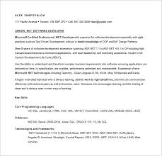 Net Programmer Resume Free Word Download
