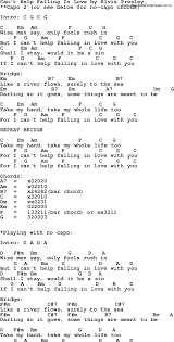 Cant Help Falling In Love By Elvis Presley Lyrics And Chords