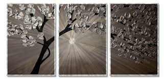 on silver metal wall art trees with silver moon 3 metal wall art