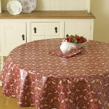 william morris red strawberry thief 137cm round pvc oilcloth fl tablecloth