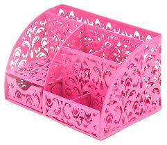 carved hollow flower pattern desk tidy organiser with drawer office desktop collection caddy pink co uk office s