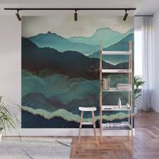 indigo mountains wall mural by