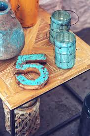 wood glass number color blue coffee table painting candlestick art wooden home decor five stylization