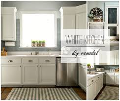 White Kitchen Cabinet Makeover Builder Grade Kitchen Makeover With White Paint