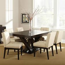 tiffany  piece dining set  espresso beige tufted dining chairs