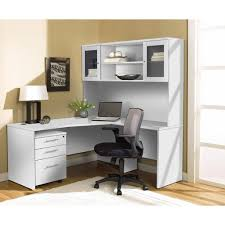 white l shaped desk. Wonderful White Modern White Lshaped Desk With Hutch U0026 Mobile Pedestal Throughout L Shaped