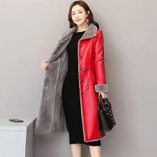 women winter leather fur jacket female coats long trench clothing plus size thick leather jacket plush
