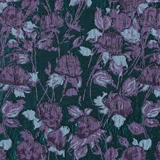 Floral Brocade Metallic Green And Purple Floral Brocade