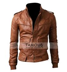 homemen s leather jacketsslim fit jacketsslim fit rider light brown designer jacket previous