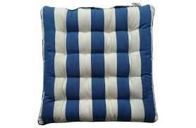 blue white stripe seat pads cushions chair with ties soccer