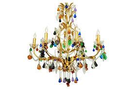 vintage venetian crystal fruits design chandelier with gilded brass frame