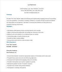Free Teacher Resume Templates Resume Corner