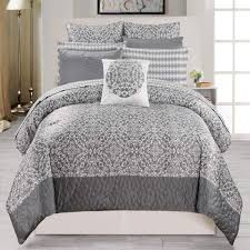 duck river textile ashlea hotel quality luxury comforter duvet insert cover hypoallergenic 10 piece set geometric collection queen size grey