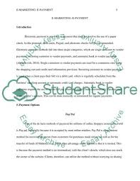 E Marketing E Payment Essay Example Topics And Well