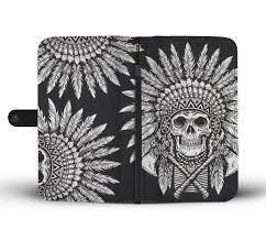 Native American Design Phone Cases Native American Indian Skull Wallet Phone Case Jorjune