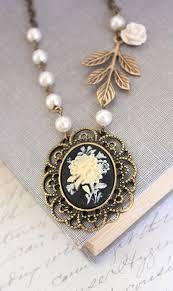 flower cameo necklace black cameo
