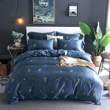 cotton luxury bedding sets blue satin bed sheet linen duvet cover pillowcase indian