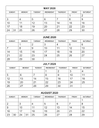 Calendar Template Monthly 2020 Free Printable Calendar Templates 2020 For Kids In Home