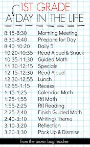 Classroom Routine Chart 1st Grade Schedule A Day In The Life The Brown Bag Teacher
