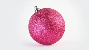 Close-up View Of One Pink Christmas Tree Ball Isolated On White ...
