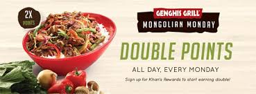 genghis grill double points every monday