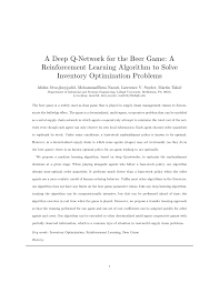 Q And A Game Pdf A Deep Q Network For The Beer Game A Reinforcement Learning
