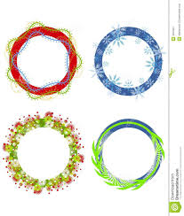 a clip art ilration of your choice of 4 christmas ornament frames featuring star ribbons and wreath patterns in red green blue and white isolated