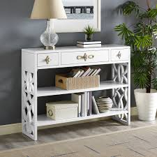 modern white console table. Everly Quinn Partin Modern White Three Drawer With Contrasting Overlays Console Table \u0026 Reviews | Wayfair E