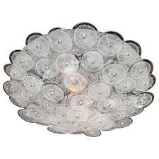 midcentury modern flush mount chandelier with handblown murano